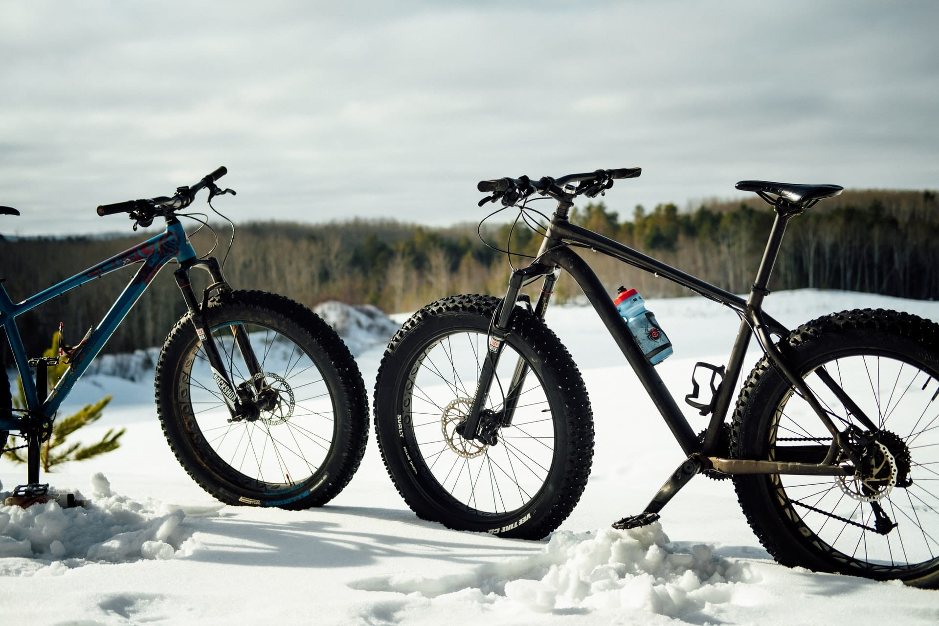 two fat bikes suited for overweight people over 400 lbs sitting in the snow