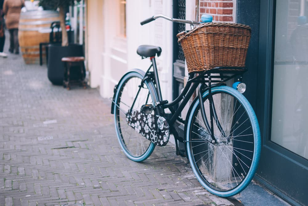 bicycle with front vicker basket
