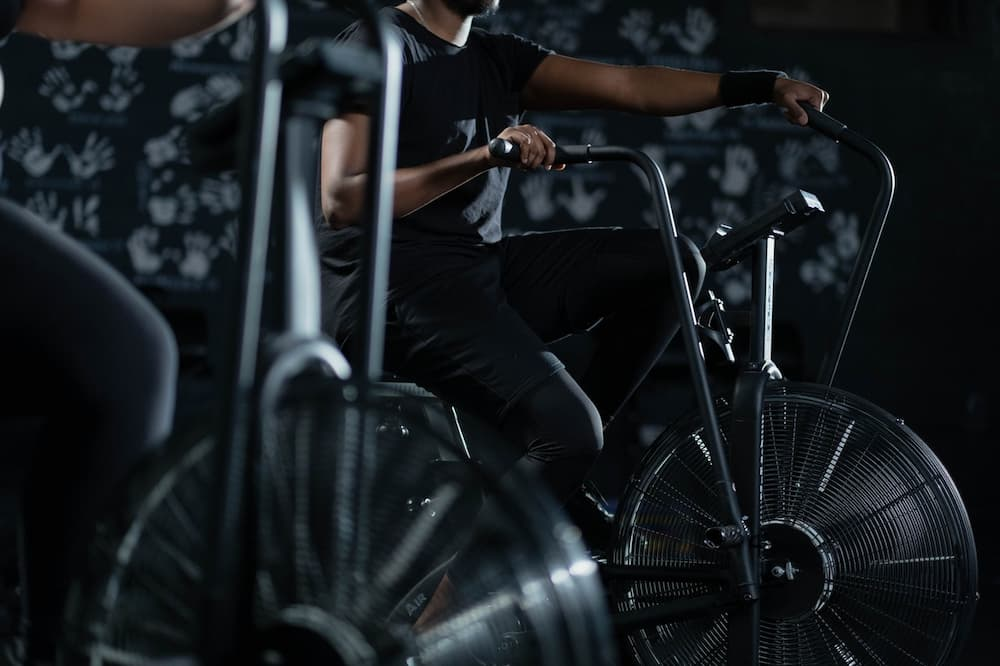man riding Indoor Cycling Trainer